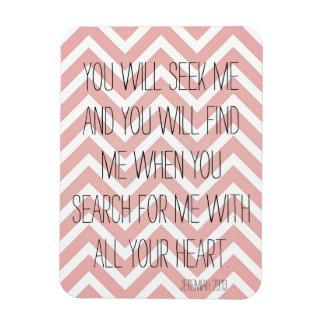 Jeremiah 29:13 Bible Verse Pink Chevron Rectangular Photo Magnet