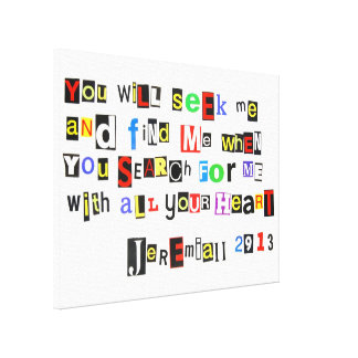 Jeremiah 29:13 Ransom Note Wrapped Canvas Canvas Print