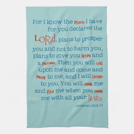 Bible Quotes For The Kitchen: Jeremiah Bible Quote Christian Kitchen Towel Gift