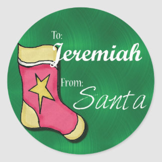 Jeremiah Personalized Christmas Label68 Classic Round Sticker