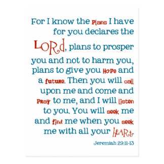 Jeremiah Plans Christian Bible Quote Card Notecard