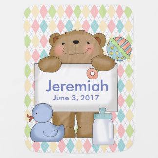 Jeremiah's Good News Bear Personalized Gifts Swaddle Blanket