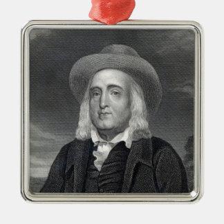 Jeremy Bentham de la 'galería de los retratos Adorno Navideño Cuadrado De Metal