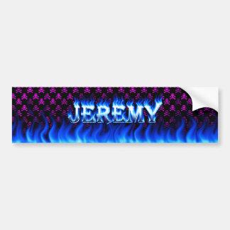 Jeremy blue fire and flames bumper sticker design. car bumper sticker