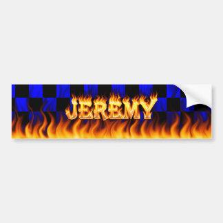 Jeremy real fire and flames bumper sticker design. car bumper sticker