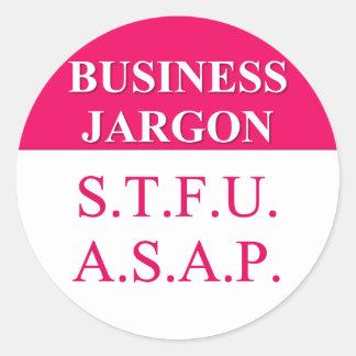 Jerga de comprensión del negocio (3) pegatina redonda