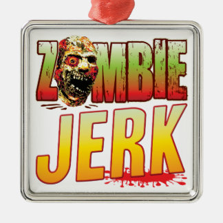 Jerk Zombie Head Square Metal Christmas Ornament