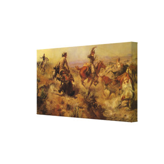 Jerked Down by CM Russell Vintage Cowboys Canvas Print