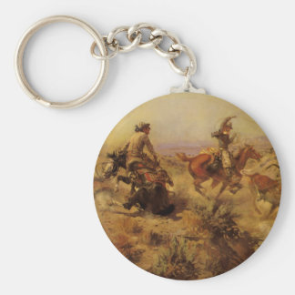 Jerked Down by CM Russell, Vintage Cowboys Basic Round Button Keychain