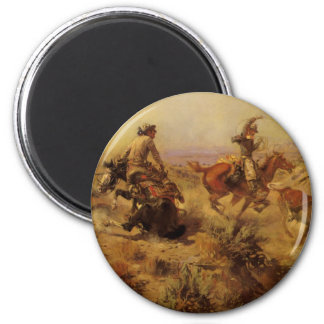 Jerked Down by CM Russell, Vintage Cowboys 2 Inch Round Magnet