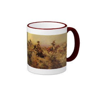 Jerked Down by CM Russell, Vintage Cowboys Ringer Coffee Mug