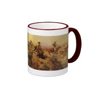 Jerked Down by CM Russell, Vintage Cowboys Ringer Coffee Mug