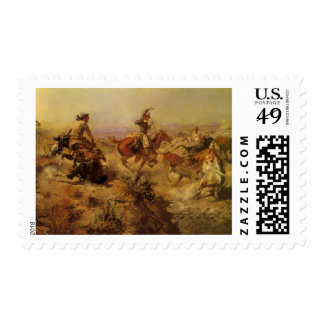 Jerked Down by CM Russell, Vintage Cowboys Postage Stamps