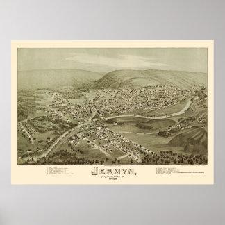 Jermyn, mapa panorámico del PA - 1889 Poster