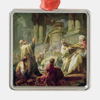 Jeroboam Sacrificing to the Golden Calf, 1752 Square Metal Christmas Ornament