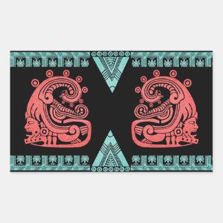 Jeroglífico azteca del guerrero de Blacklight Pegatina Rectangular