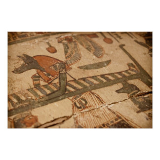 Jeroglífico egipcio de Anubis y de una momia Póster