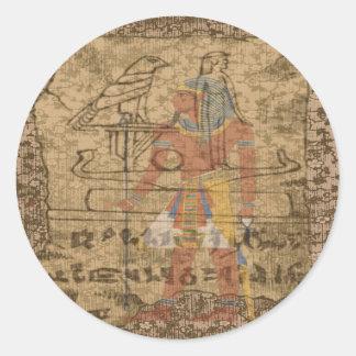 Jeroglífico egipcio etiqueta redonda