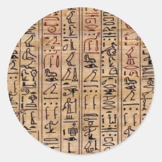 Jeroglíficos del amuleto pegatina redonda