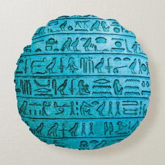 Jeroglíficos egipcios antiguos azules cojín redondo