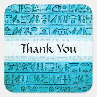 Jeroglíficos egipcios antiguos azules pegatina cuadrada