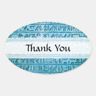 Jeroglíficos egipcios antiguos azules pegatina ovalada