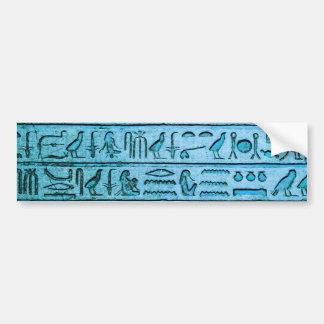 Jeroglíficos egipcios antiguos azules pegatina para auto