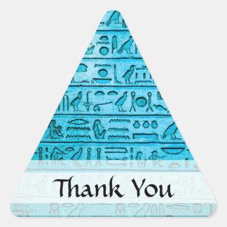 Jeroglíficos egipcios antiguos azules pegatina triangular