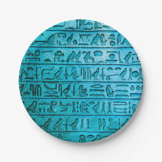 Jeroglíficos egipcios antiguos azules platos de papel