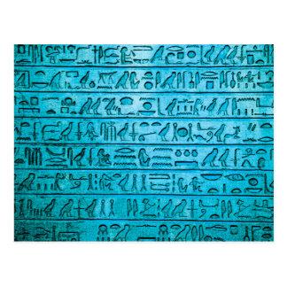 Jeroglíficos egipcios antiguos azules postales