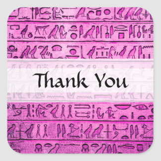 Jeroglíficos egipcios antiguos púrpuras pegatina cuadrada