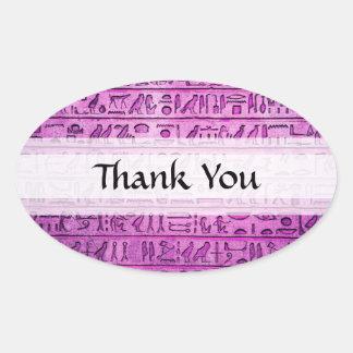 Jeroglíficos egipcios antiguos púrpuras pegatina ovalada
