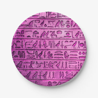 Jeroglíficos egipcios antiguos púrpuras platos de papel