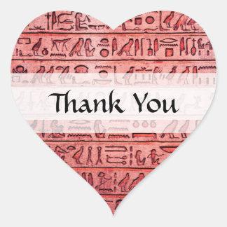Jeroglíficos egipcios antiguos rojos pegatina en forma de corazón