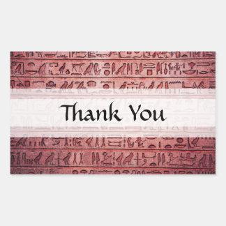 Jeroglíficos egipcios antiguos rojos pegatina rectangular