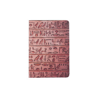 Jeroglíficos egipcios antiguos rojos porta pasaporte