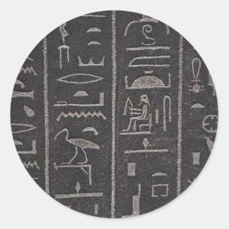 Jeroglíficos egipcios pegatina redonda