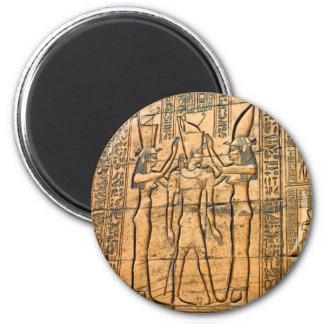 Jeroglíficos en el templo de Edfu, Egipto Imán Redondo 5 Cm