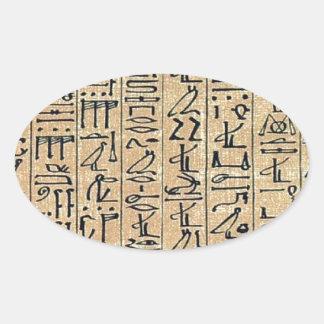 Jeroglíficos Hieroglifos Pegatina Ovalada