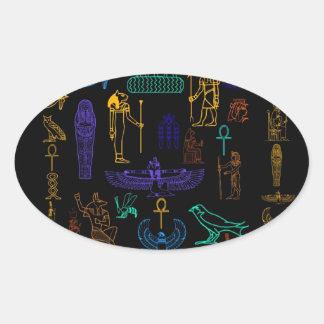 Jeroglíficos y símbolos egipcios antiguos pegatina ovalada