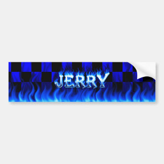 Jerry blue fire and flames bumper sticker design