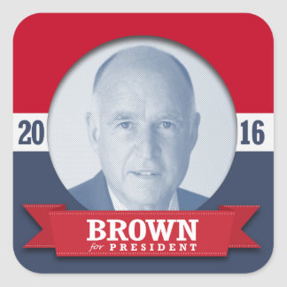 JERRY BROWN 2016 SQUARE STICKER