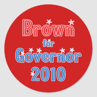Jerry Brown for Governor 2010 Star Design Classic Round Sticker