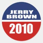 JERRY BROWN PARA EL GOBERNADOR ETIQUETA REDONDA
