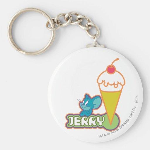 Jerry Ice Cream Basic Round Button Keychain