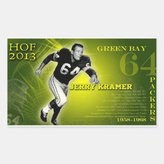 Jerry Kramer HOF 2012 Rectangular Sticker