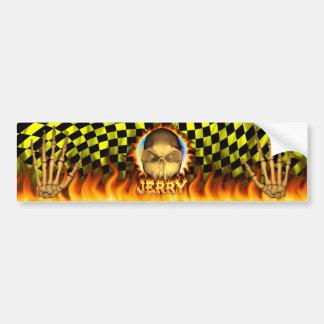 Jerry skull real fire and flames bumper sticker de