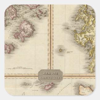 Jersey alejado y Guernesey de las islas británicas Calcomanías Cuadradass