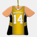 Jersey amarillo #14 V1 del baloncesto Adornos De Navidad