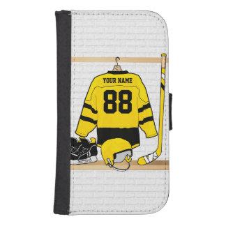 Jersey amarillo y negro personalizado del hockey fundas billetera para teléfono